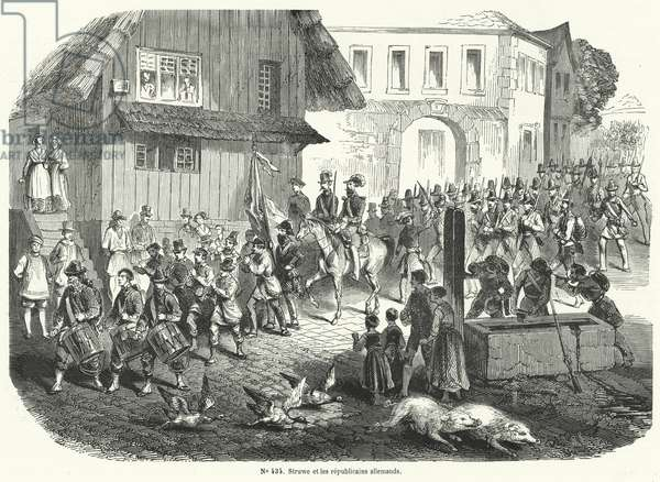 Procession of Gustav Struve and German republicans, Revolution of 1848 (engraving)
