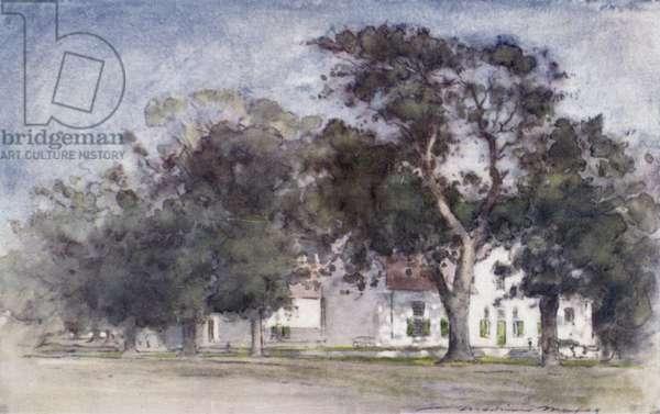 Dutch farmhouse on Rhodes' Estates, Paarl (colour litho)
