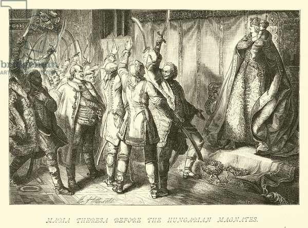 Maria Theresa before the Hungarian magnates (engraving)