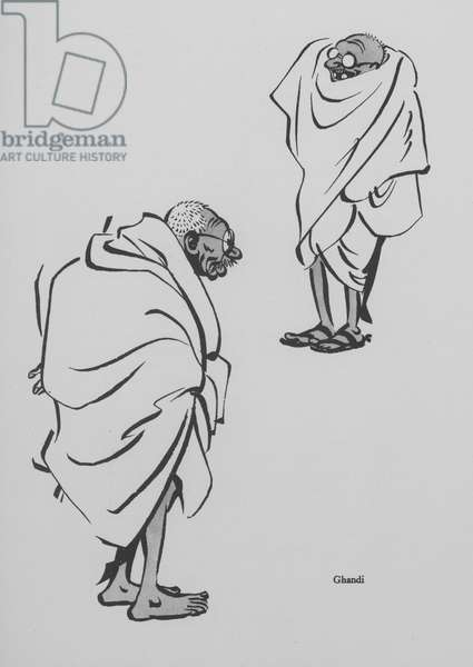 Mahatma Gandhi, leader of the movement for Indian independence from British rule (litho)