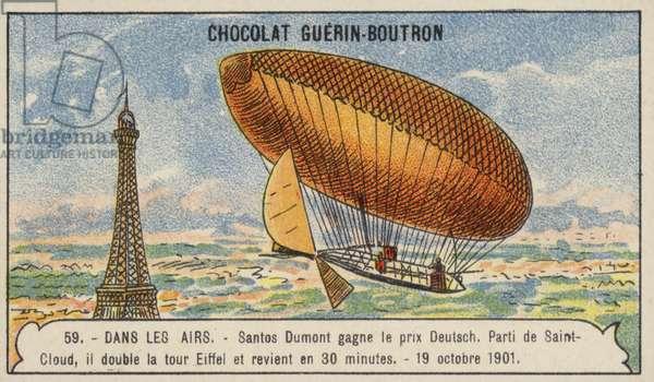 Santos-Dumont winning the Deutsch de la Meurthe Prize, Paris, 19 October 1901 (chromolitho)