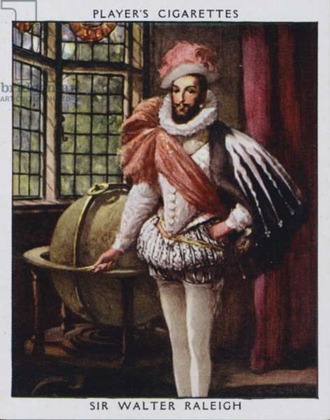 Sir Walter Raleigh (colour litho)