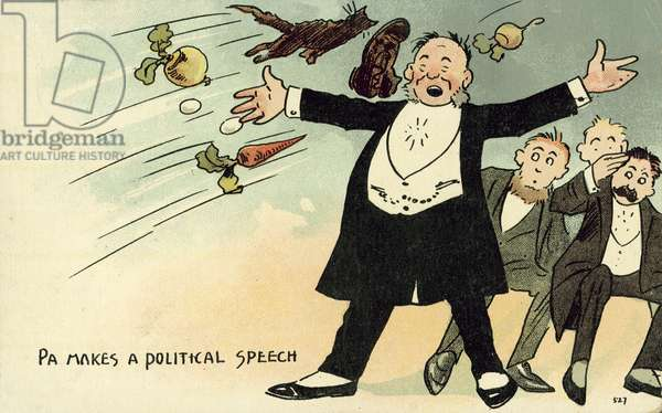 Political unpopularity: a man being pelted with objects while making a speech (chromolitho)