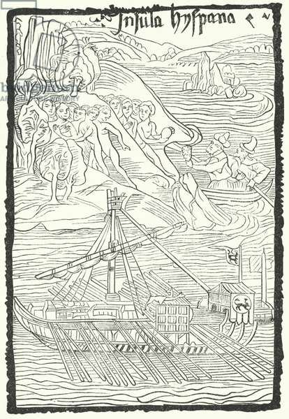 Discovery of the island of Hispaniola by Christopher Columbus, 1492 (engraving)