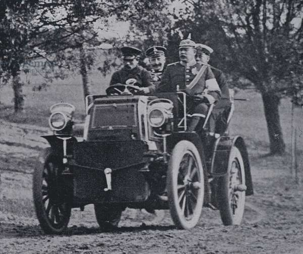 Kaiser Wilhelm II of Germany and Prince Henry of Prussia in a motor car, 1900s (b/w photo)