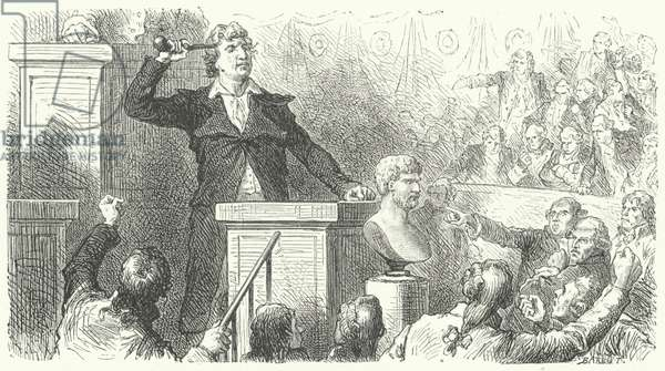 Jean-Paul Marat at the tribune of the National Convention, 1792 (engraving)