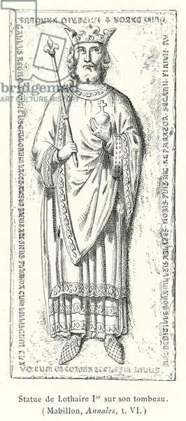 Statue de Lothaire Ier sur son tombeau (engraving)