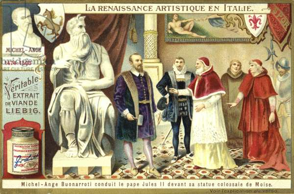 Michelangelo showing Pope Julius II his colossal statue of Moses (chromolitho)