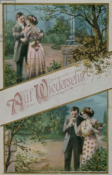 'Auf Wiedersehn' greeting card, 1913 (colour litho)