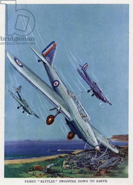 British Fairey Battle light bombers diving towards the ground (colour litho)