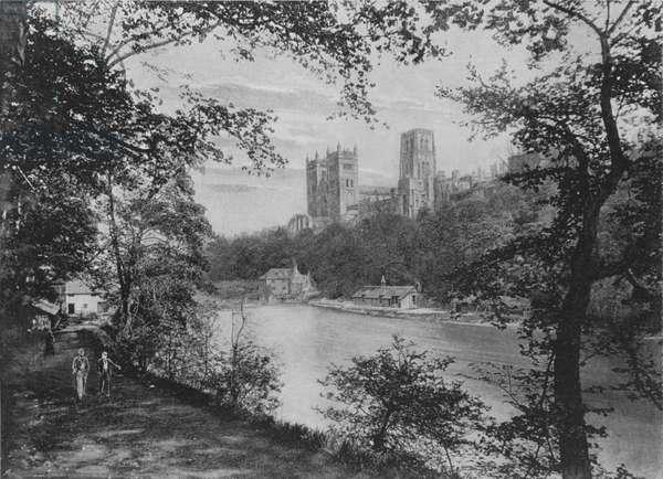 Durham Cathedral, from Prebend's Bridge (b/w photo)