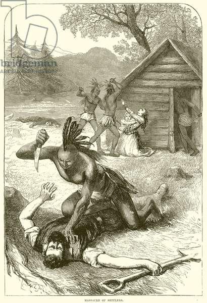 Massacre of settlers (engraving)