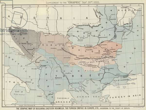 The Graphic Map of Bulgaria, Eastern Roumelia, the Turkish Empire in Europe (colour litho)