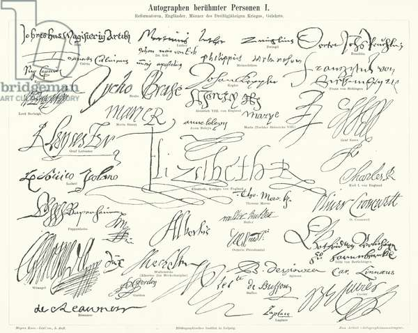 Autographs of famous people: prominent figures of the Protestant Reformation, Britain, the Thirty Years War and scientists (engraving)
