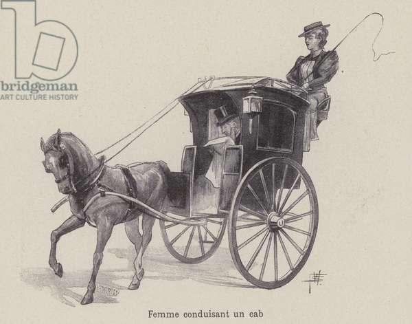 Woman driving a cab (litho)