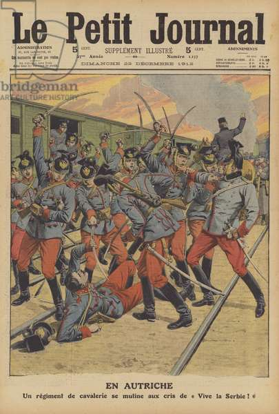 Mutiny of an Austrian Army cavalry regiment (colour litho)