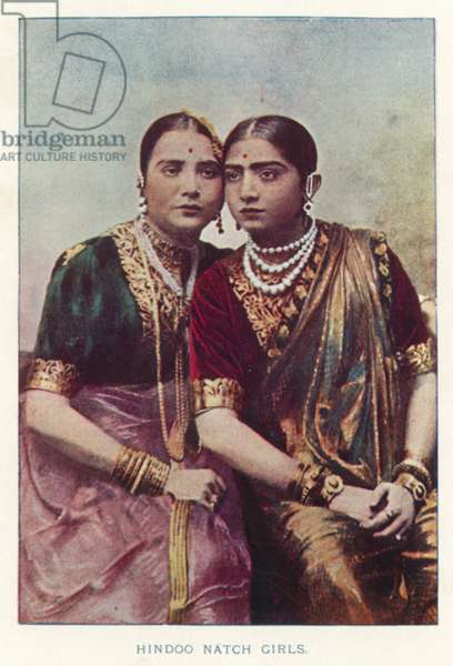 Indian Natives: Hindoo Natch Girls (coloured photo)