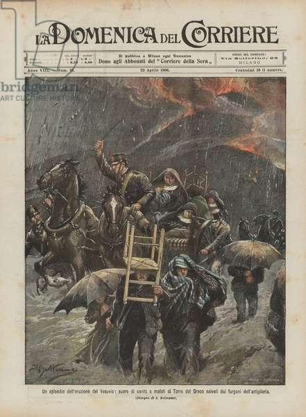 Un episodio dell'eruzione del Vesuvio, suore di carita e malati di Torre del Greco salvati dai … (colour litho)