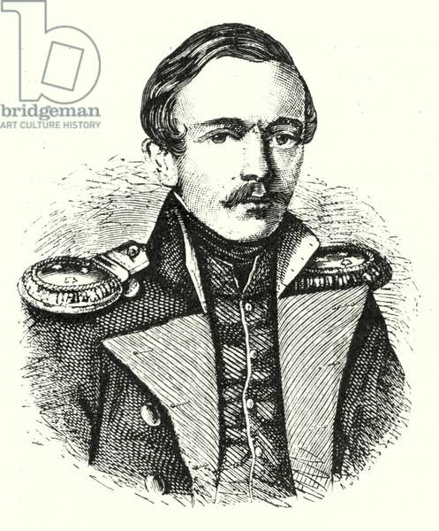 Mikhail Lermontov, Russian poet, writer and painter (engraving)