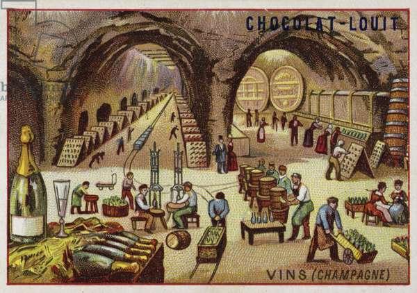 Winemaking (Champagne) (chromolitho)