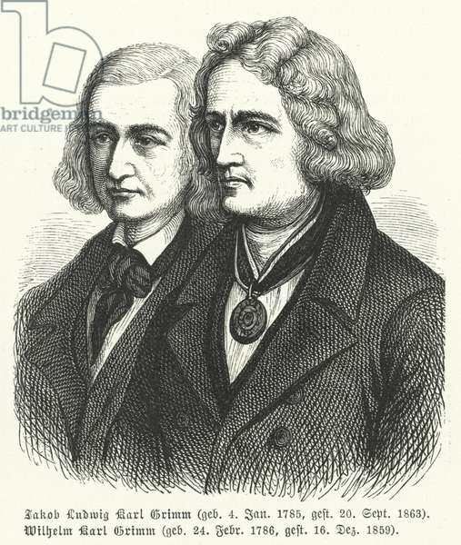 The Brothers Grimm, German authors and collectors of folklore (engraving)
