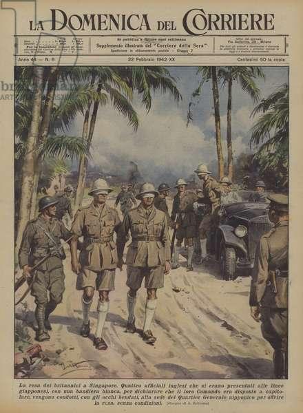 La resa dei britannici a Singapore (colour litho)