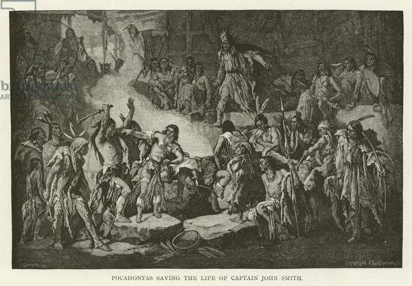 Pocahontas saving the life of Captain John Smith (engraving)