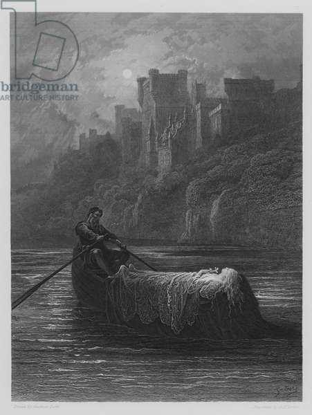 The Body of Elaine on its way to King Arthur's Palace (engraving)