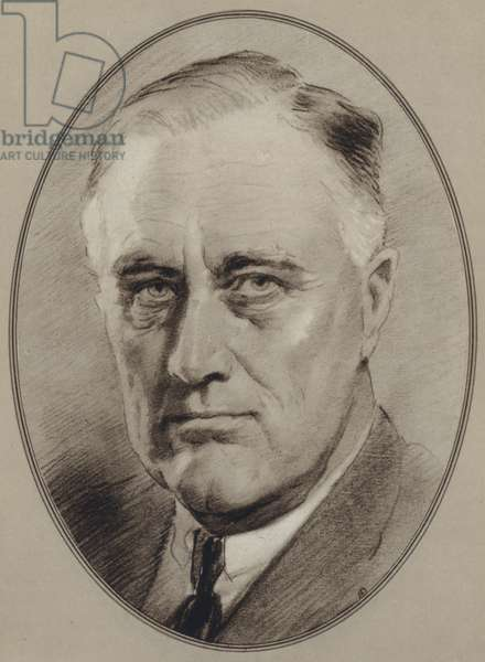Portraits of American Statesmen: Franklin Delano Roosevelt (litho)