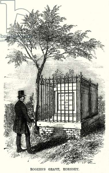Rogers's Grave, Hornsey (engraving)