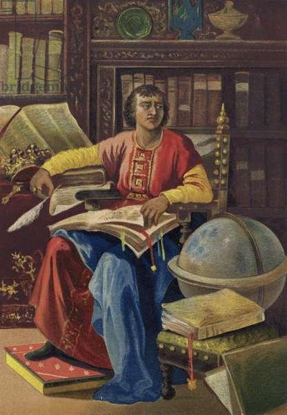 Alfonso X, King of Castile, Leon and Galicia (chromolitho)