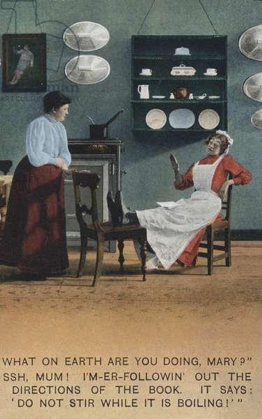 A lazy kitchen maid (colour photo)