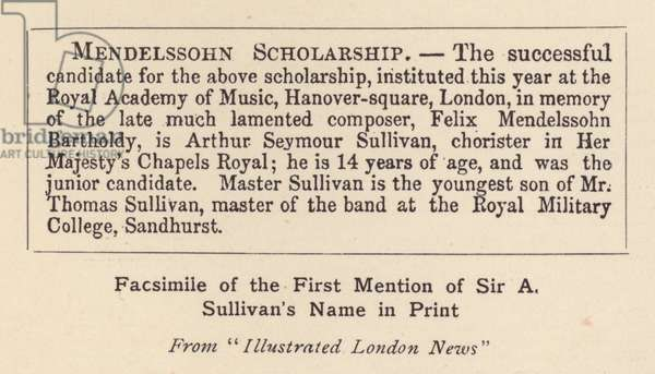 Sir Arthur Sullivan: Facsimile of the First Mention of Sir A Sullivan's Name in Print (b/w photo)