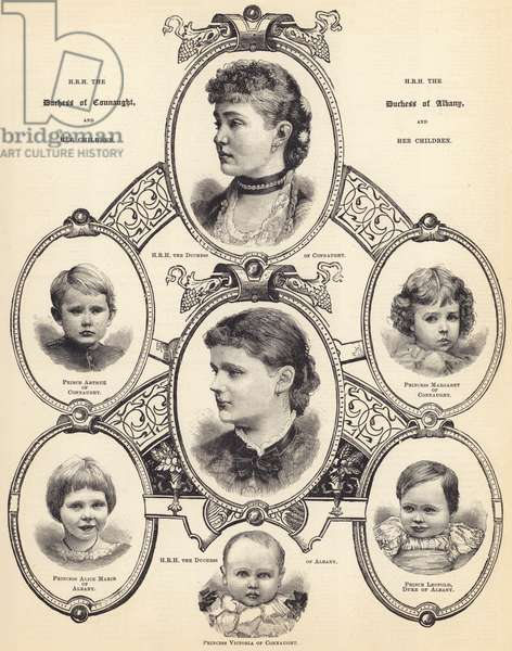 HRH the Duchess of Connaught and HRH the Duchess of Albany, and their Children (engraving)