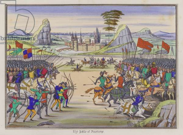 The Battle Of Poitiers (coloured engraving)