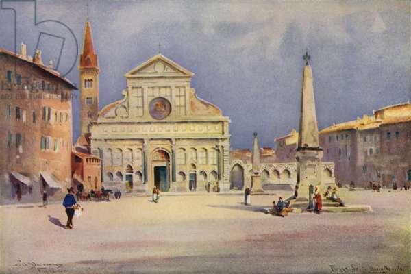 Piazza S Maria Novella, Florence (colour litho)