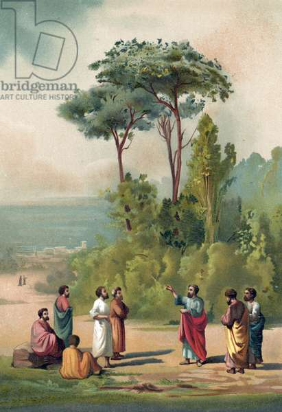Plato and his disciples in the gardens of the Academia
