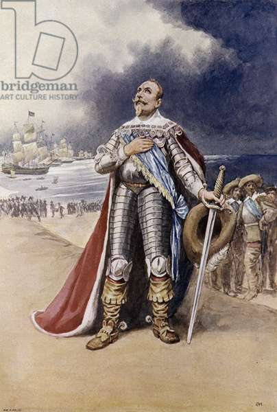 Gustavus Adolphus, King of Sweden landing on German soil during the Thirty Years War, 1630 (colour litho)