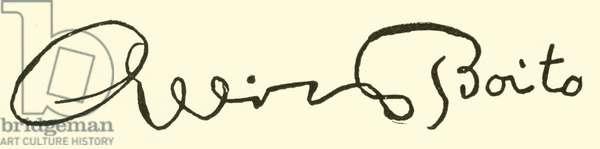 Arrigo Boito, signature (engraving)
