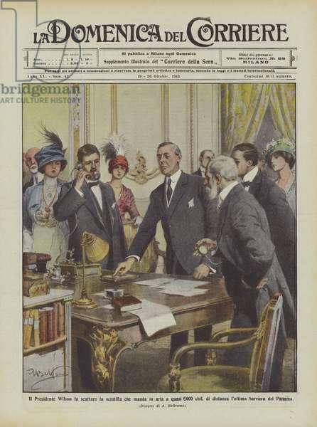 Il Presidente Wilson fa scattare la scintilla che manda in aria a Quasi 6000 chil … (colour litho)