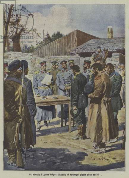 Soldiers being judged by a Bulgarian military tribunal at the Siege of Adrianople, First Balkan War (colour litho)