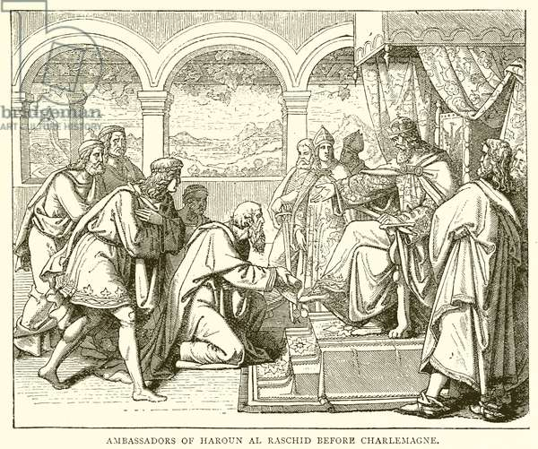 Ambassadors of Haroun al Raschid before Charlemagne (engraving)