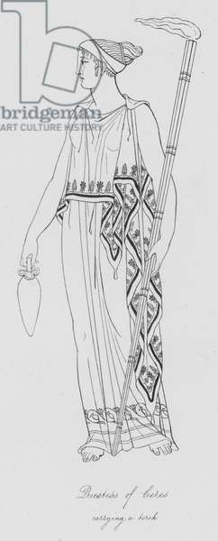 Priestess of Ceres carrying a torch (engraving)
