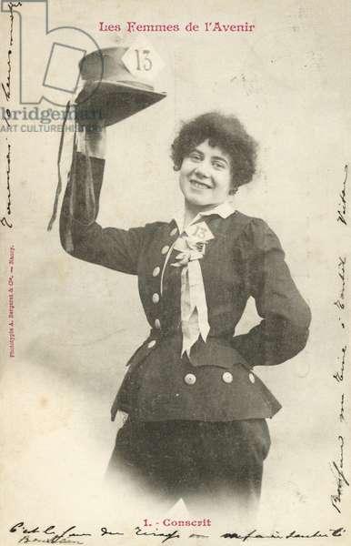 Military Conscript, Woman Of The Future (b/w photo)