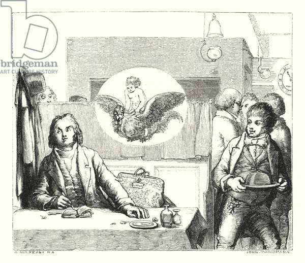 Will waterproof's lyrical monologue, made at the cock (engraving)