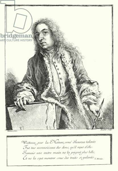 Self-portrait of French artist Antoine Watteau (engraving)