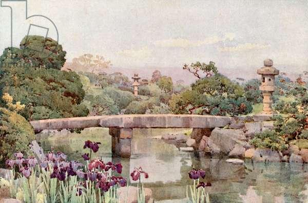 Satake Garden, Tokyo (colour litho)