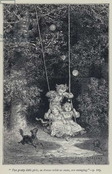 """""""Two pretty little girls, in dresses white as snow, are swinging"""" (engraving)"""
