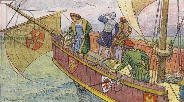 Christopher Columbus uses a compass to help him sail to the New World (colour litho)