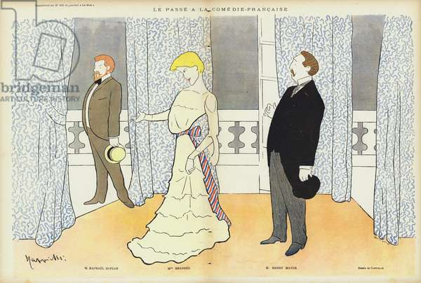 Actors appearing in Le Passe at the Comedie-Francaise, illustration for Le Rire (colour litho)